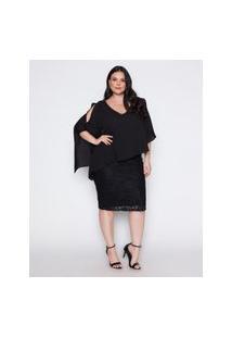Vestido Almaria Plus Size Pianeta De Renda Com Bordado Manual Preto