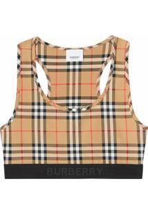 Burberry Sutiã Esportivo Com Xadrez Vintage - Neutro