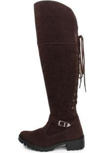 Bota Over The Knee Br2 Lady Cano Longo Moderna Feminina - Feminino-Marrom
