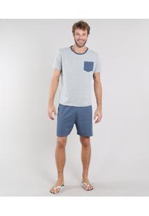 Pijama Masculino Listrado Com Bolso Manga Curta Cinza Mescla Claro