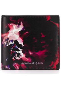 Alexander Mcqueen Carteira Ink Floral - Preto
