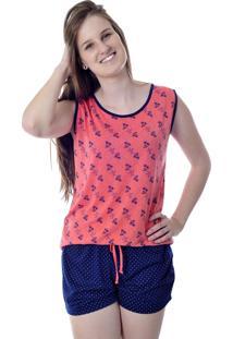 Short Doll Cavado Com Estampa Floral - Mania Pijamas