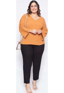 Blusa Almaria Plus Size Lasala Lisa Pecan Marrom