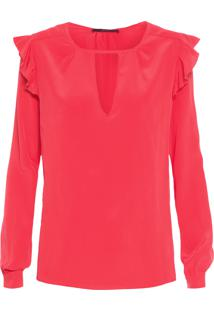 Camisa Feminina Decote V Greta - Vermelho