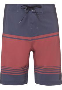 Bermuda Masculina D'Água Navy Red Stripes - Azul