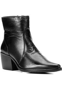 Bota Couro Shoestock Western Salto Médio Feminina - Feminino-Preto