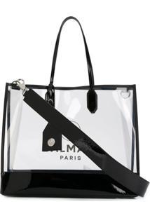 Balmain Bolsa Tote Transparente Com Estampa De Logo - Preto