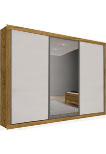 Armário 03 Portas De Correr 2,46 Espelho Central, Carvalho Com Branco, Premium Plus Ii