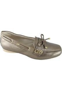 Mocassim Sapatoweb Confort Feminino - Feminino-Dourado