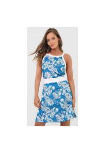 Vestido Fiveblu Curto Floral Azul/Branco