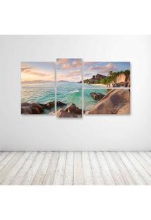 Quadro Decorativo - La Digue Beach Seychelles - Composto De 5 Quadros - Multicolorido - Dafiti