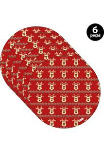 Capa Para Sousplat Mdecore Natal Renas Vermelho 6Pçs