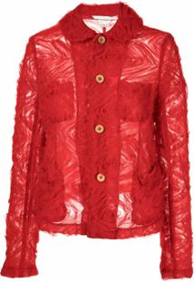Comme Des Garçons Girl Floral Tulle Single-Breasted Jacket - Vermelho