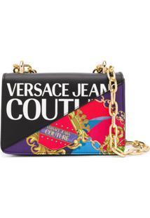 Versace Jeans Couture Logo Print Shoulder Bag - Preto