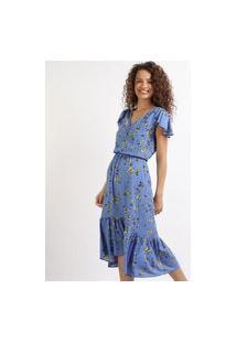 Vestido Feminino Midi Estampado De Borboletas Com Babado Manga Curta Azul