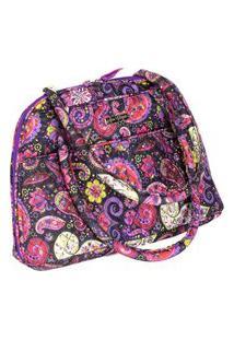 Bolsa Handbag Tecido Ombro Zíper Espaçosa Casual Roxo