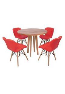 Conjunto Mesa De Jantar Em Madeira 90Cm Com Base Vértice + 4 Cadeiras Slim - Vermelho