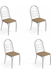 Conjunto Com 4 Cadeiras De Cozinha Holanda Cromado E Capuccino