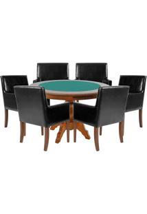 Mesa De Jogos Carteado Redonda Montreal Tampo Reversível Amêndoa Com 6 Cadeiras Liverpool Corino Preto Liso - Gran Belo