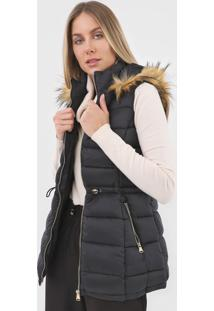 Colete Puffer Facinelli By Mooncity Liso Preto