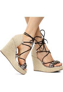 Sandália Couro Plataforma Shoestock Corrente Feminina - Feminino-Areia+Preto