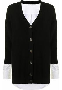 Alexander Wang V-Neck Layered Knitted Cardigan - Preto