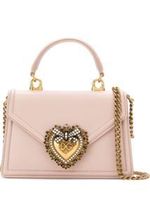 Dolce & Gabbana Bolsa Tote Devotion Mini De Couro - Rosa