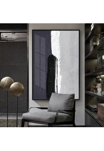 Quadro 150X100Cm Abstrato Igandea Vidro Cristal E Moldura Preta Decorativo Interiores - Oppen House