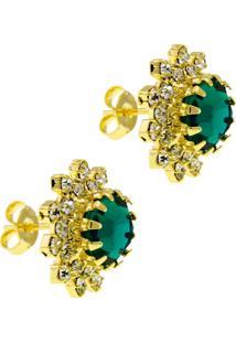 Brincos Horus Import Girassol - 1030041 - Verde Esmeralda