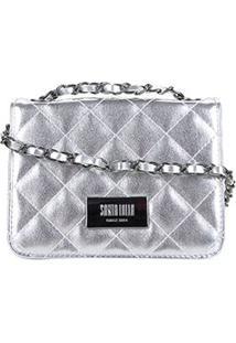 Bolsa Santa Lolla Mini Bag Metálica Feminina - Feminino-Prata
