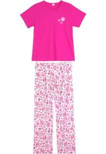 Pijama Feminino Composê Longo Flores Sapatilhas