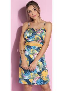 Vestido Tropical Com Recorte Na Cintura