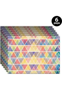 Jogo Americano Mdecore Geométrico 40X28Cm Laranja 6Pçs