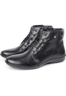 Bota Rasteira Cano Curto Perlatto F835 Burned Preto