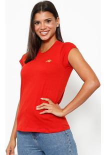 Camiseta Com Logo Da Marca - Vermelha & Douradaclub Polo Collection