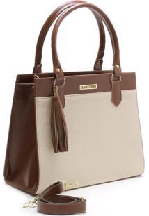 Bolsa Bicolor Santorini Handbag Tricê Marrom/Creme