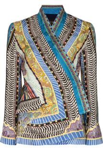Etro Printed Kimono Sleeve Blouse - Azul