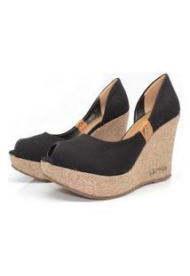 Scarpin Barth Shoes Noite Juta Ouro Lona - Preto