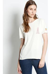 Camiseta ''Espanã'' - Off White & Vermelho Escurocanal