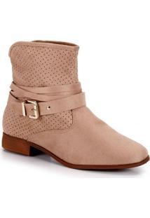 Ankle Boots Moleca Fivela - Bege