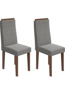 Conjunto Com 2 Cadeiras Dafne Imbuia E Cinza