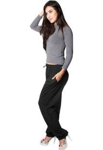 Calça Viscolycra Shop Modas - Feminino-Preto