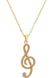 Gargantilha Letra Musical Tudo Jóias Folheada A Ouro 18K Dourada