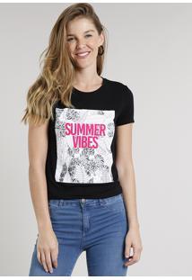 "Blusa Feminina ""Summer Vibes"" Manga Curta Decote Redondo Preta"