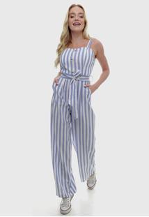 Macacão Listrado Pantalona Azul Claro E Off Sob Com Bolsos E Faixa