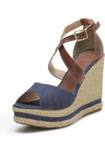 Sandália Zart Anabela Jeans Azul