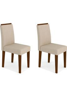Conjunto Com 2 Cadeiras Ana I Castanho E Creme
