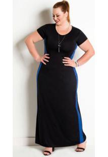 Vestido Longo Bicolor Plus Size Preto E Royal