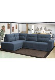 Sofá De Canto Cama Inbox Dublin 2,60X1,95Mt Com Chaise Tecido Suede Velusoft Azul