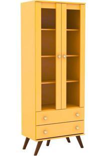 Estante Cristaleira- Amarela & Marrom- 182X70X40,5Cmmovel Bento